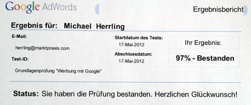 AdWords Grundlagenprüfung Werbung mit Google