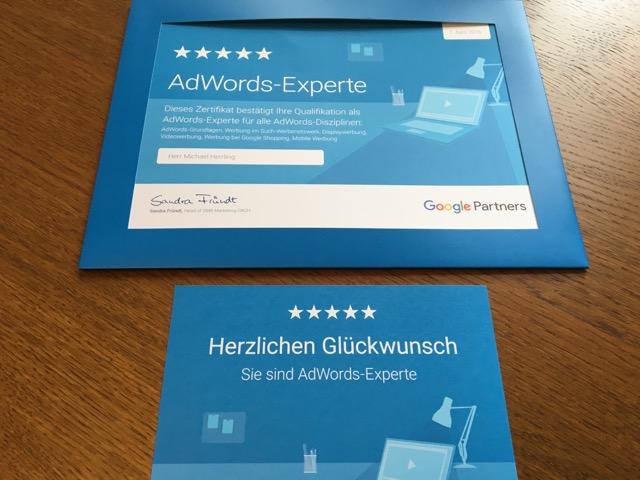 Michael Herrling erhält Zertifikat als AdWords-Experte