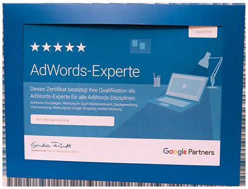 AdWords Experten Zertifizierung für Michael Herrling