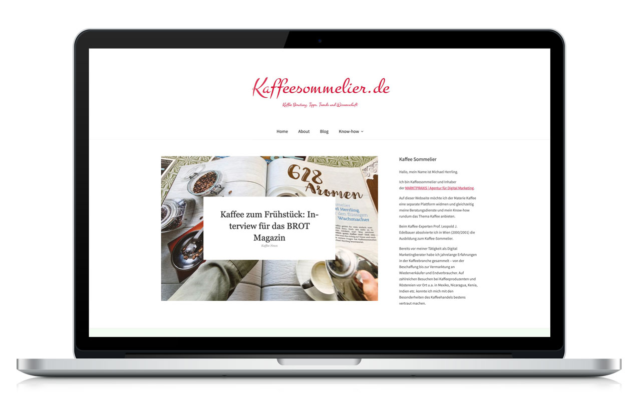 WordPress Website Kaffeesommelier